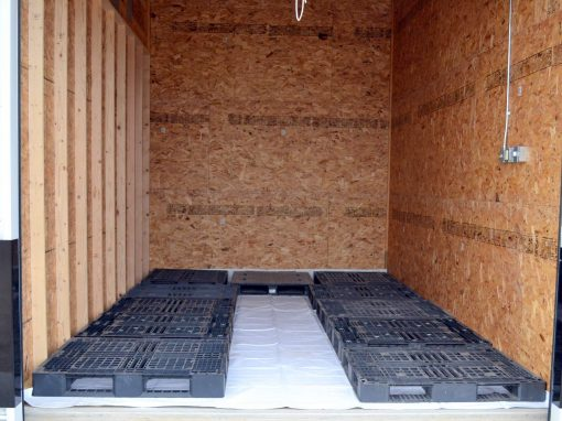 Optional vinyl floor liner and Optional plastic pallets